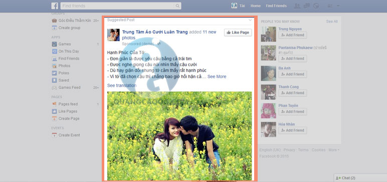 Quảng cáo Facebook Áo cưới Luân Trang
